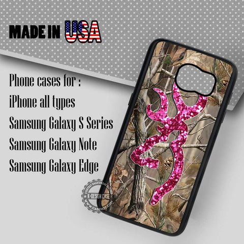 Camo Browning Pink Glitter - Samsung Galaxy S7 S6 S5 Note 5 Cases & Covers