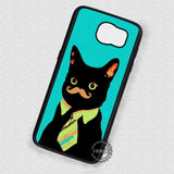 Cat with Mustache Kitten - Samsung Galaxy S7 S6 S5 Note 7 Cases & Covers