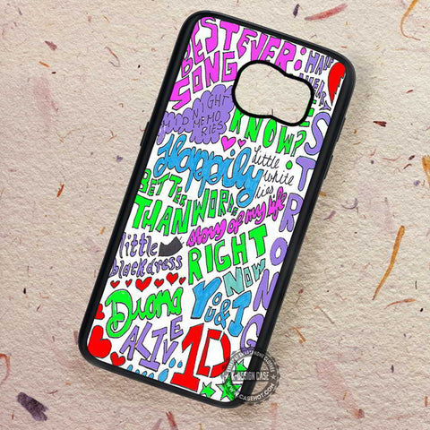 Collage Drawing Art One Direction - Samsung Galaxy S7 S6 S5 Note 7 Cases & Covers
