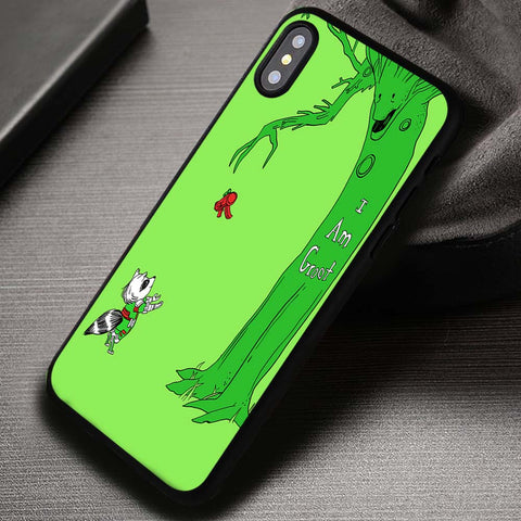 Green Tree An A Racoon I'm Groot Guardian - iPhone X Case