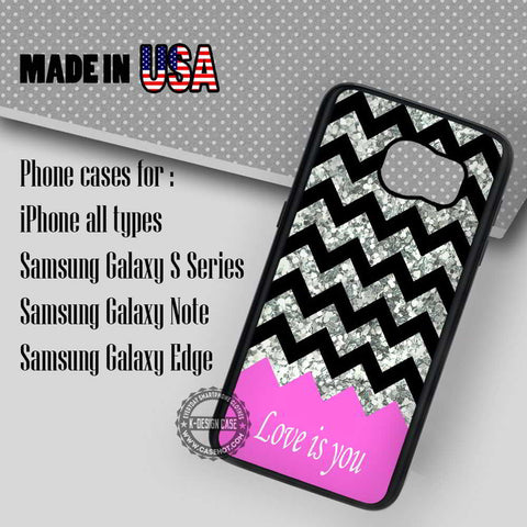 Pink Chevron and Glitter- Samsung Galaxy S7 S6 S5 Note 5 Cases & Covers