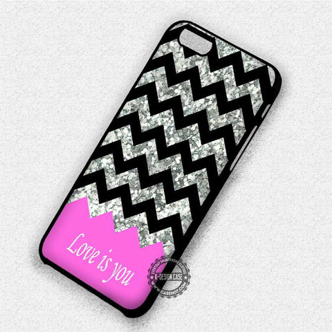 Pink Chevron and Glitte - iPhone 7 6 Plus 5c 5s SE Cases & Covers