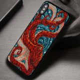 Red Octopus Mosaic Miracle Blue Sea - iPhone X Case