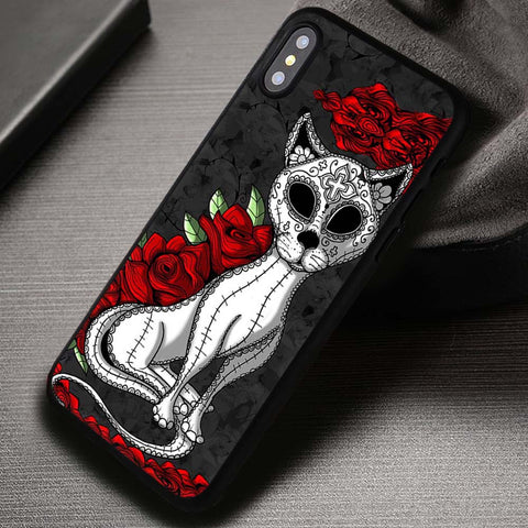 Sugar Skull Cat Day of The Dead - iPhone X Case