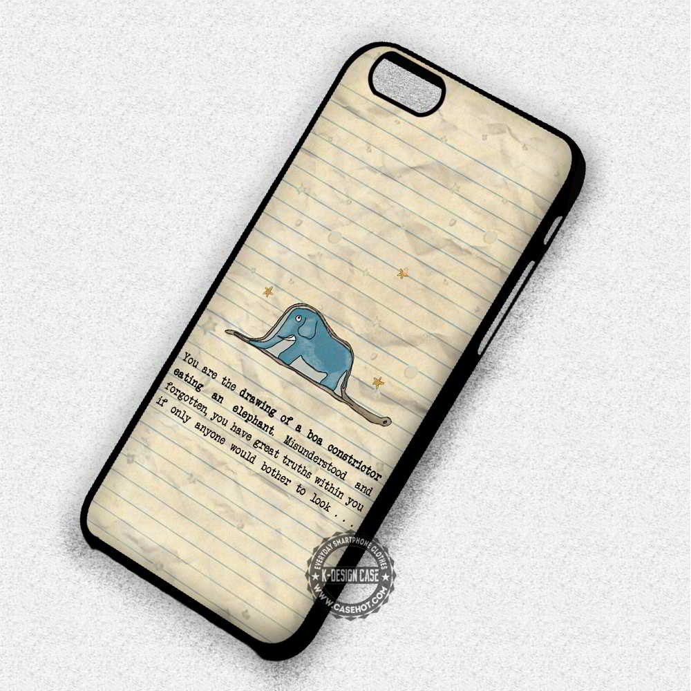 Vintage Quotes The Little Prince Snake Elephant - iPhone 7 6 5 SE Cases &  Covers