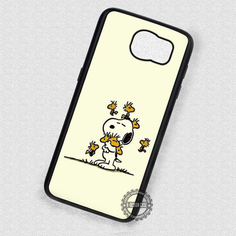 White Dog and Birds Snoopy Woodstock Cartoon - Samsung Galaxy S7 S6 S5 Note 7 Cases & Covers