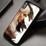 White Haired Lady With Her Dragons - iPhone X Case