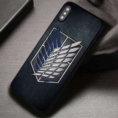 Wings On Metal Texture Attack On Titan - iPhone X Case