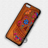 Wooden Sugar Skull Flower - iPhone 7 6 Plus 5c 5s SE Cases & Covers