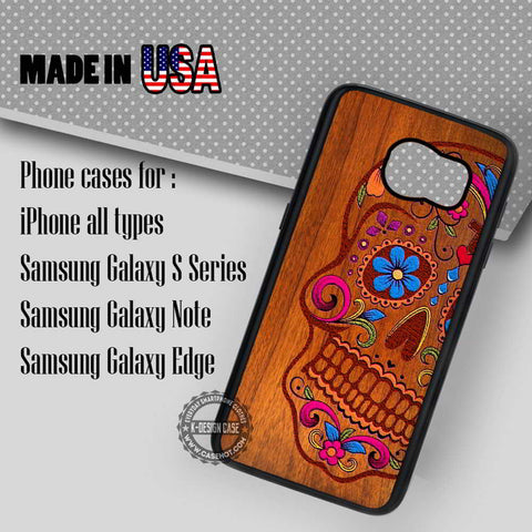 Wooden Sugar Skull  - Samsung Galaxy S7 S6 S5 Note 5 Cases & Covers