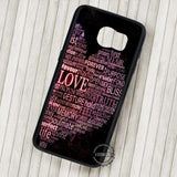 Words of Love Collage Black Background - Samsung Galaxy S7 S6 S5 Note 7 Cases & Covers