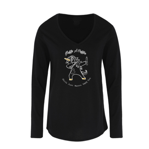 Muffs-A-Puffin Long Sleeve V Neck
