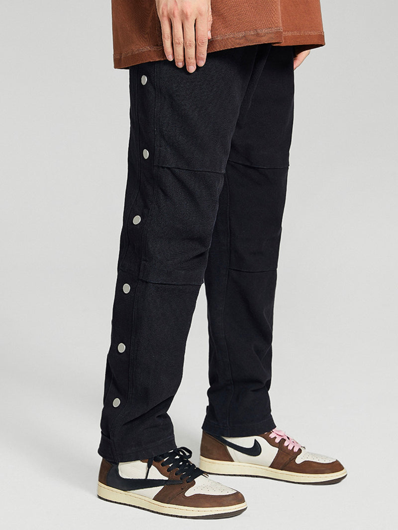 Military buttoned straight loose Fit Pants Black