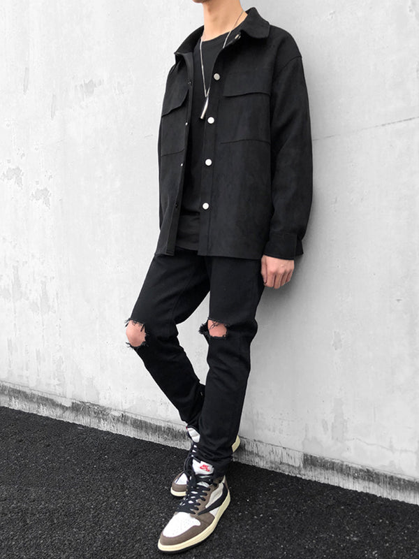 SUEDE DOUBLE POCKET BUTTON JACKET BLACK