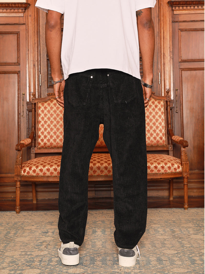 VINTAGE WASHED CORDUROY WIDE TAPERED PANTS