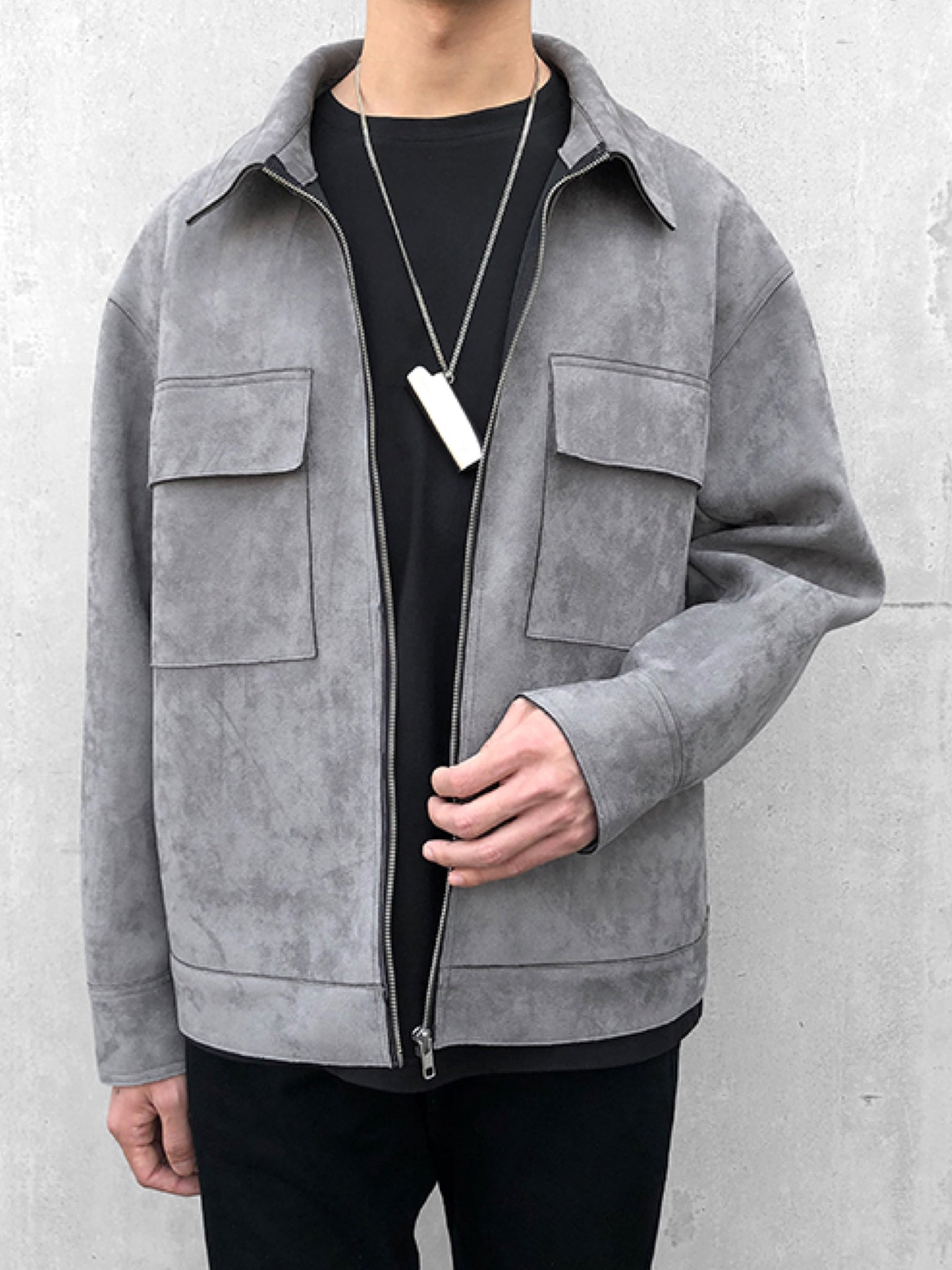 GRAY VERLOUR LEATHER ZIPPER JACKET