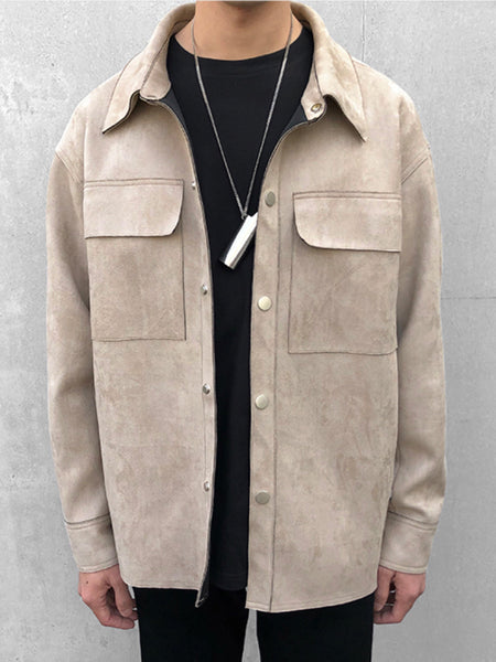 SUEDE DOUBLE POCKET BUTTON JACKET BEIGE