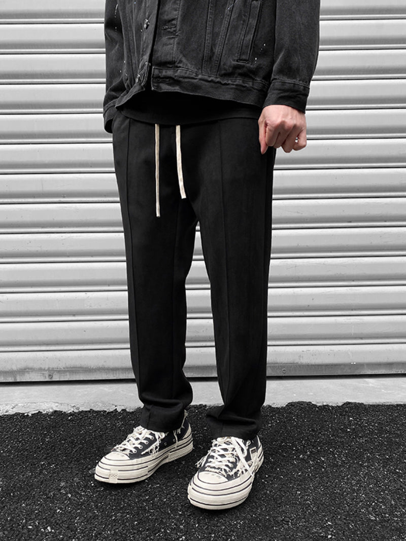 BLACK SUEDE STRAIGHT LOOSE JOGGER PANTS
