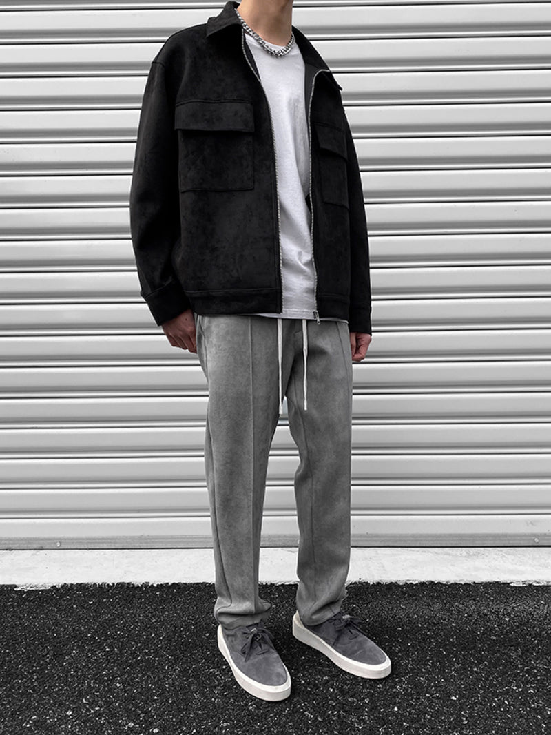 GREY SUEDE STRAIGHT LOOSE JOGGER PANTS