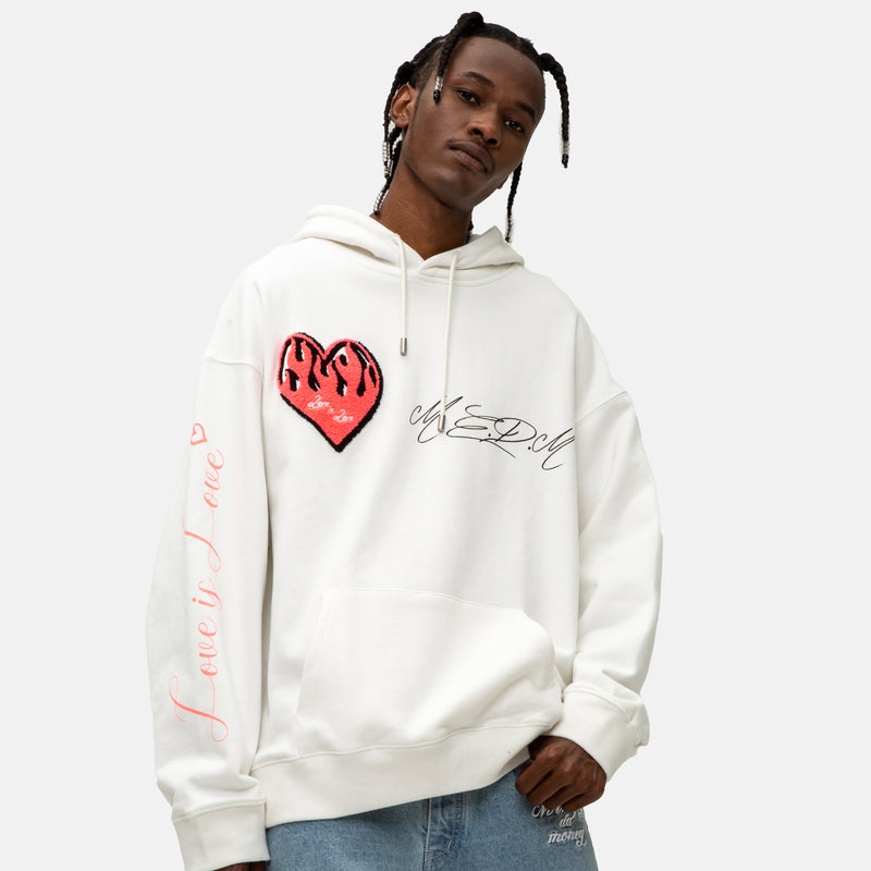 White MEDM heavy Flame Love is Love Hoodie