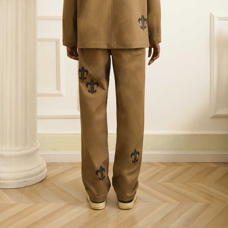 Brown Gothic Printed Trousers