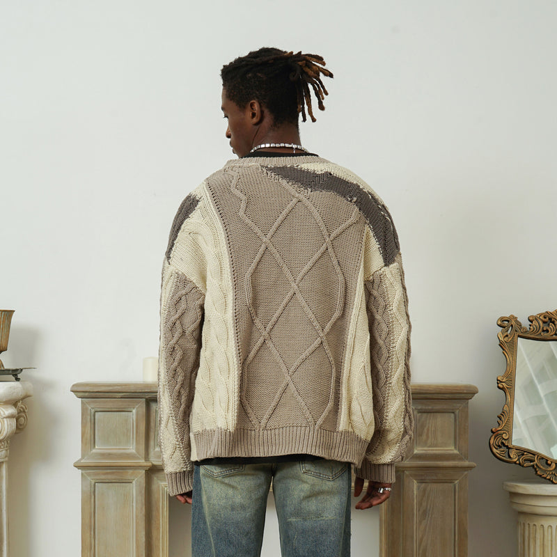 Beige-grey Stitching Loose Sweater