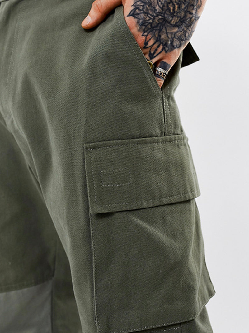 WASHED COTTON NYLON CONTRAST  MILITARY CARGO PANTS