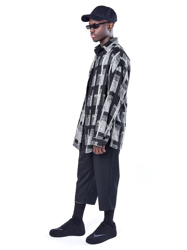 VNTCH LOOSE FIT WOOLEN LATTICE SHIRT JACKET