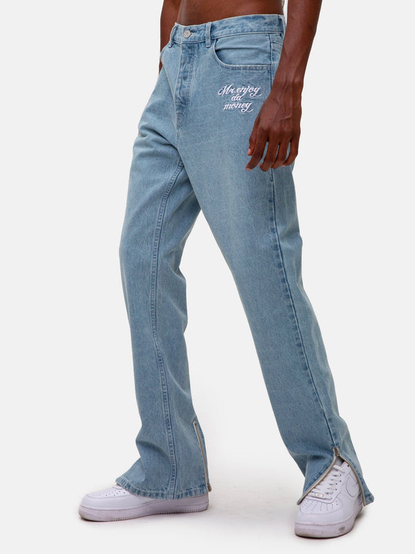Straight washed split zipper Jeans Pants