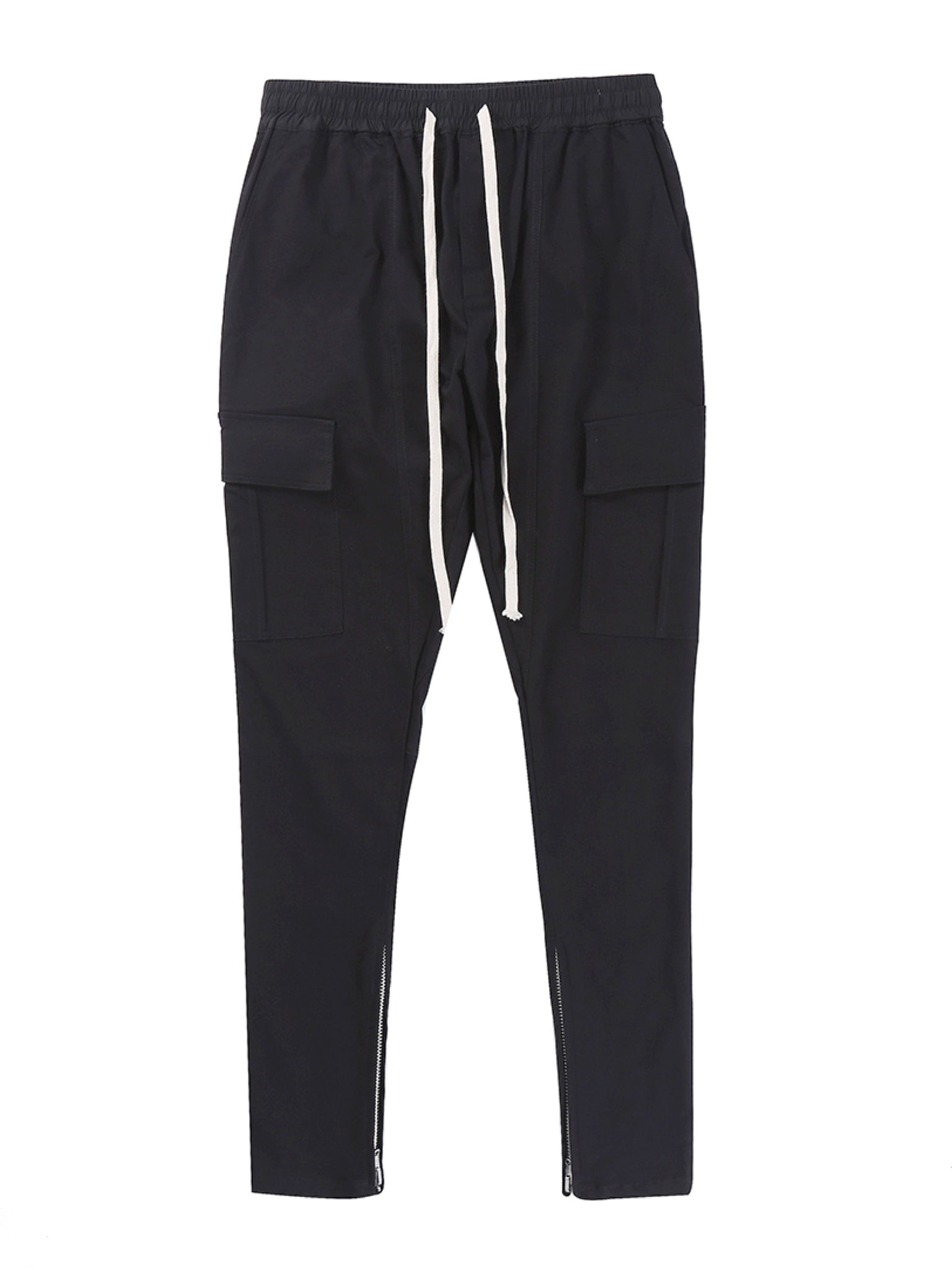 SLIM FIT CARGO DRAWSTRING PANTS BLACK