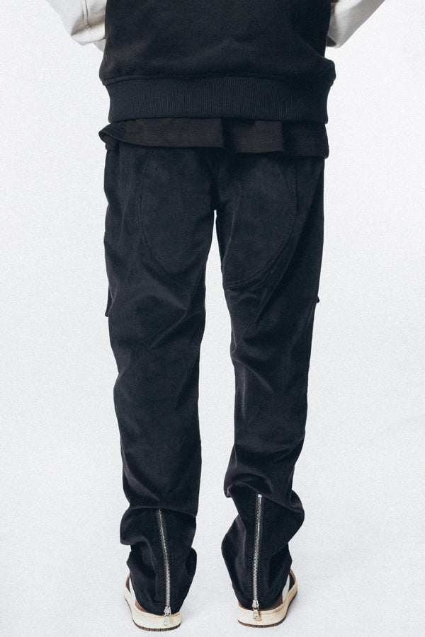 Black corduroy straight zipper pocket Pants