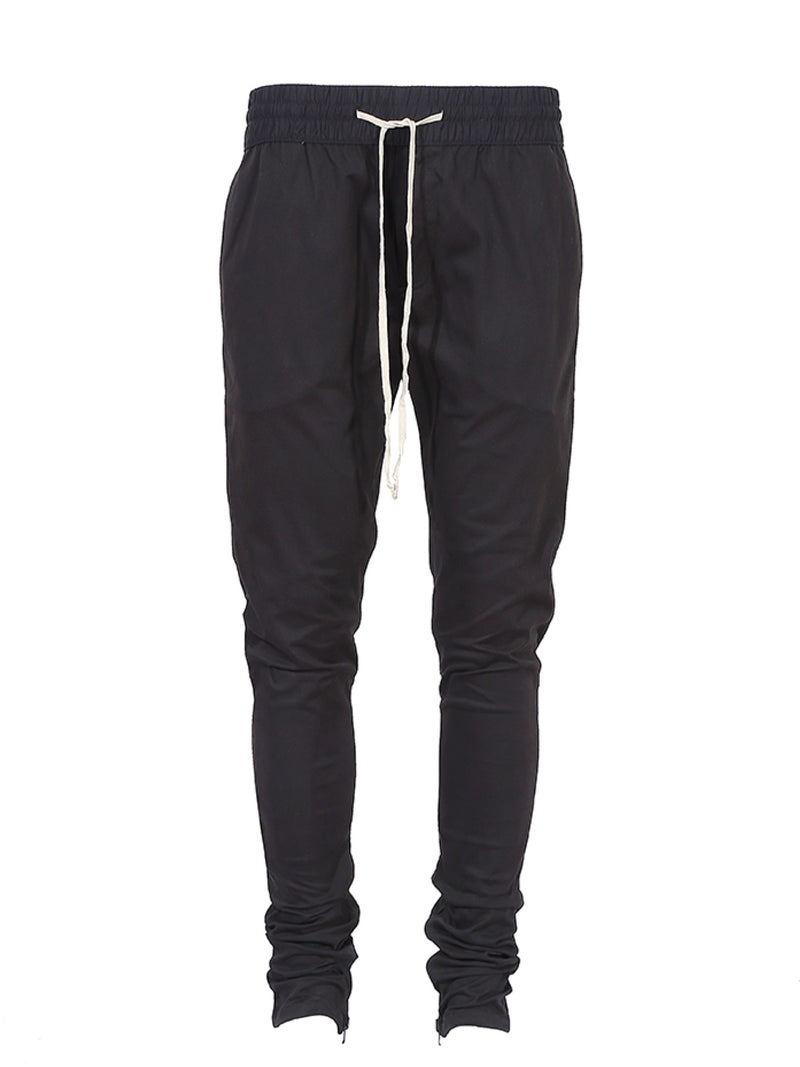 SLIM FIT BASIC DRAWSTRING PANTS BLACK
