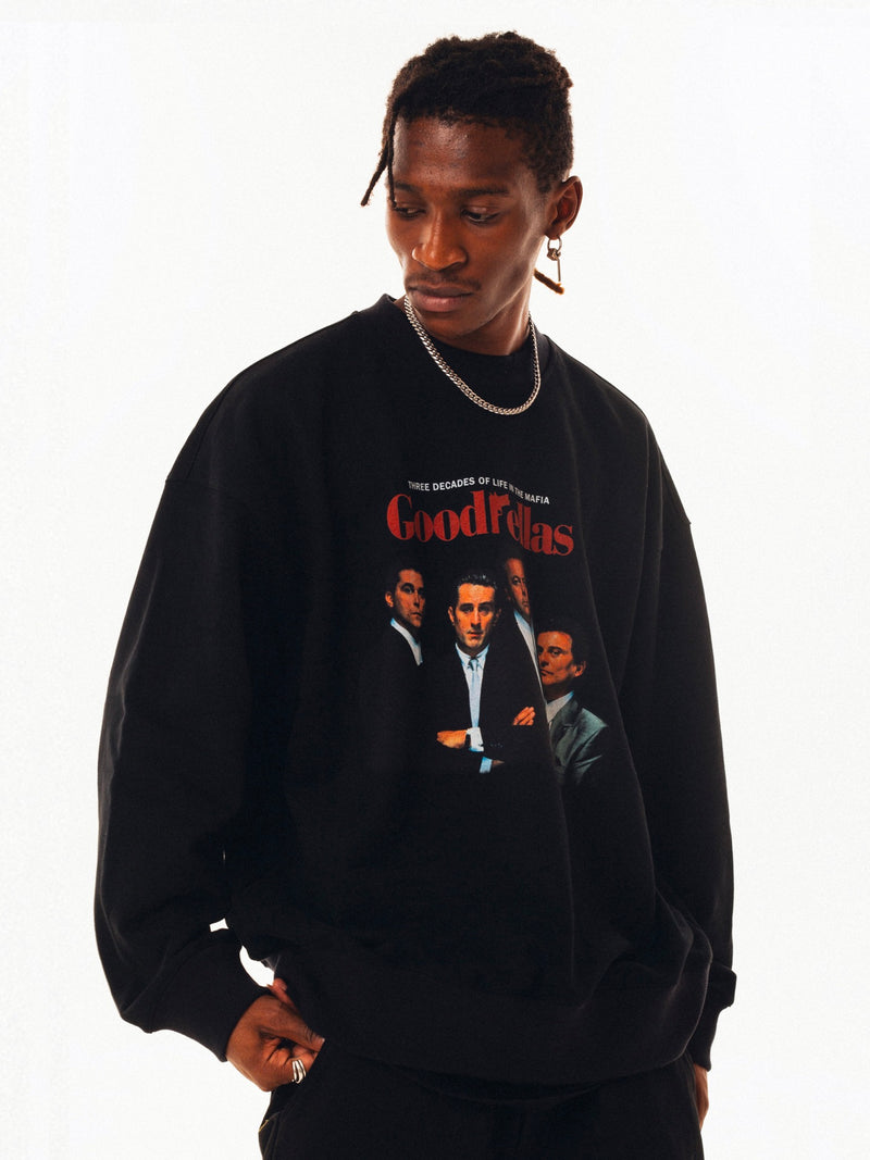 Black Portrait Pullover Crew-neck Sweater