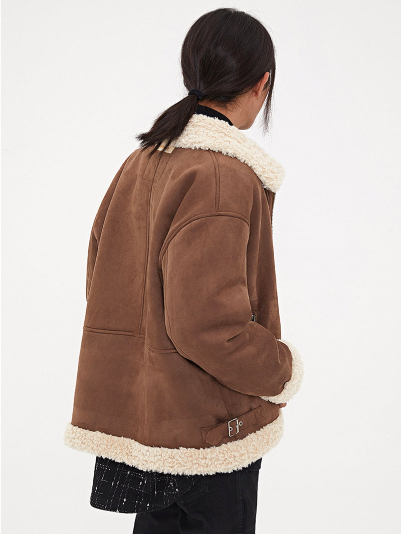 Coffee Lamb fur Aviator Jacket