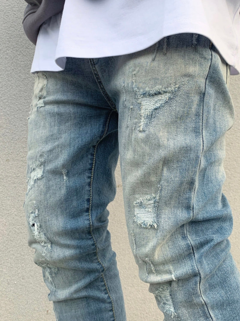 Patch Lined Destroyed Washed Indigo Denim