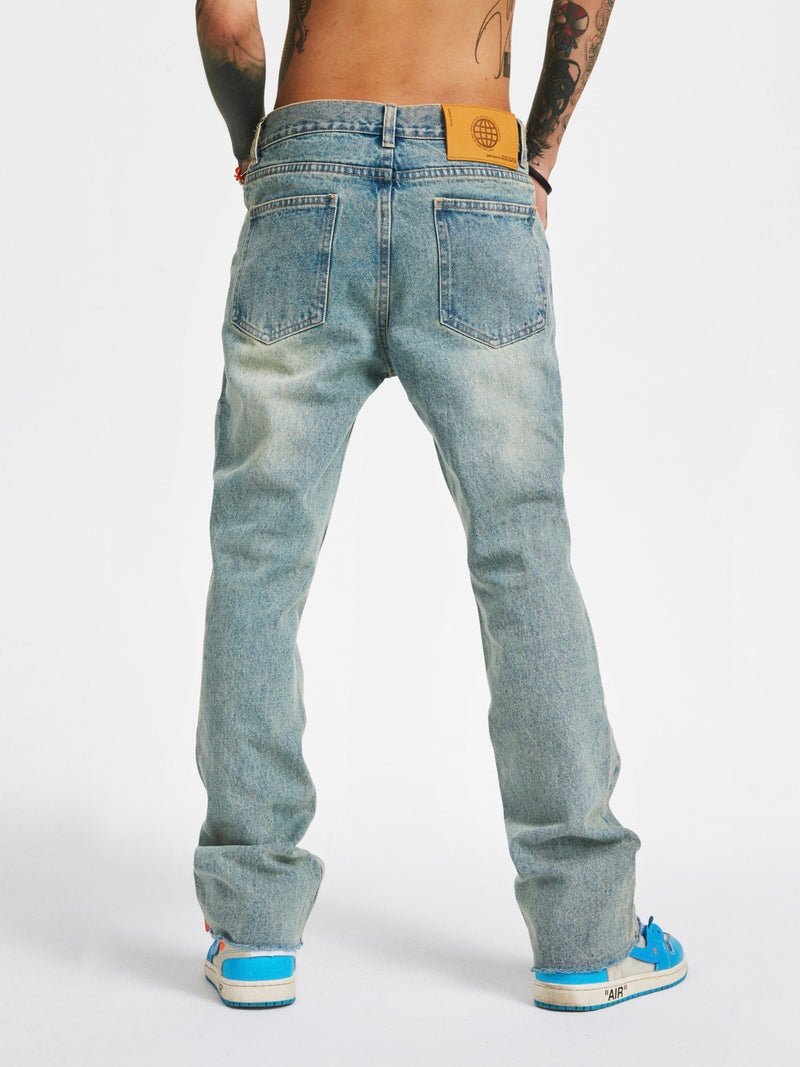 Vintage Washed Frayed Non-Bounce Flare Jeans