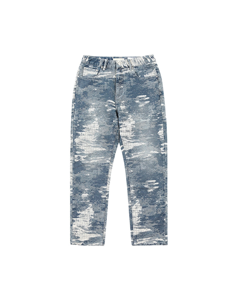 Jacquard Denim Loose Fit Jeans Pants