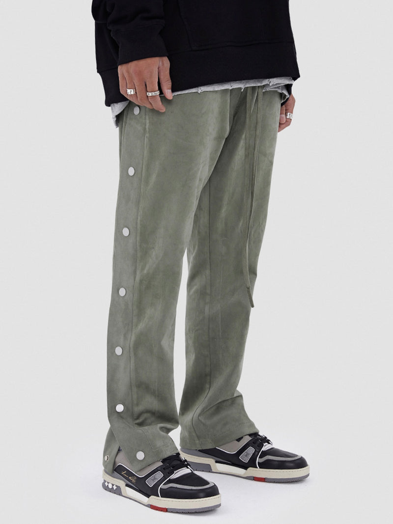 Green Suede Leather-breasted drawstring Pants