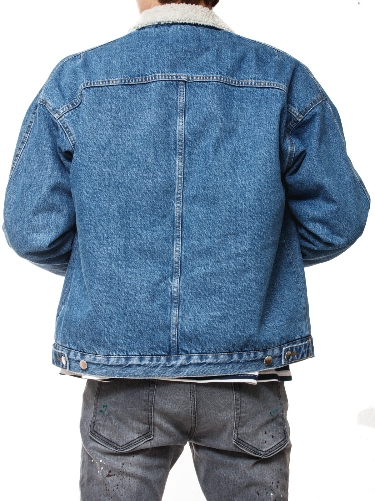 VINTAGE BLUE WASHED SHERPA TRUCKER JACKET