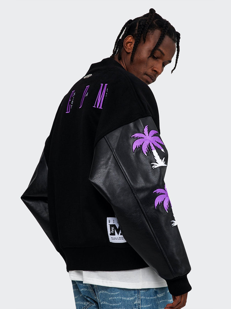 Embroidery Palms Baseball Jacket