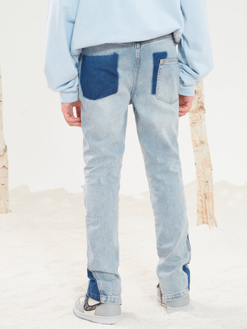 Flared Printed Destroyed Jeans