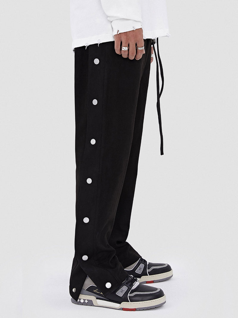 Black Suede Leather-breasted drawstring Pants