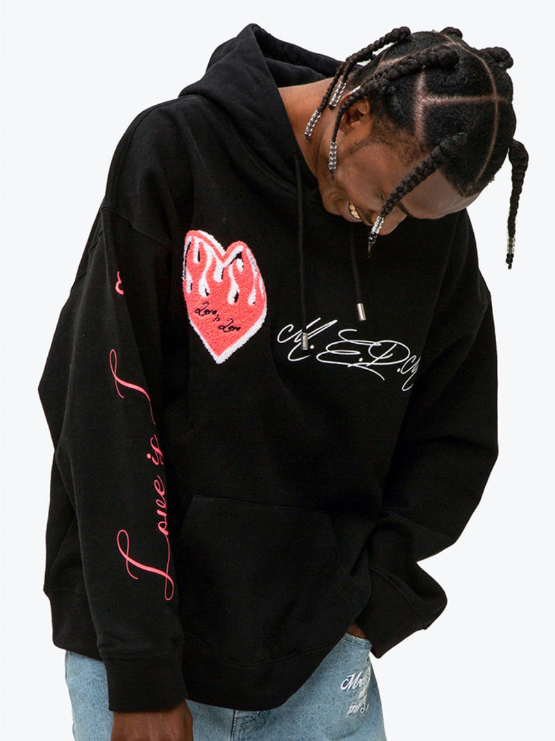 Black MEDM heavy Flame Love is Love Hoodie