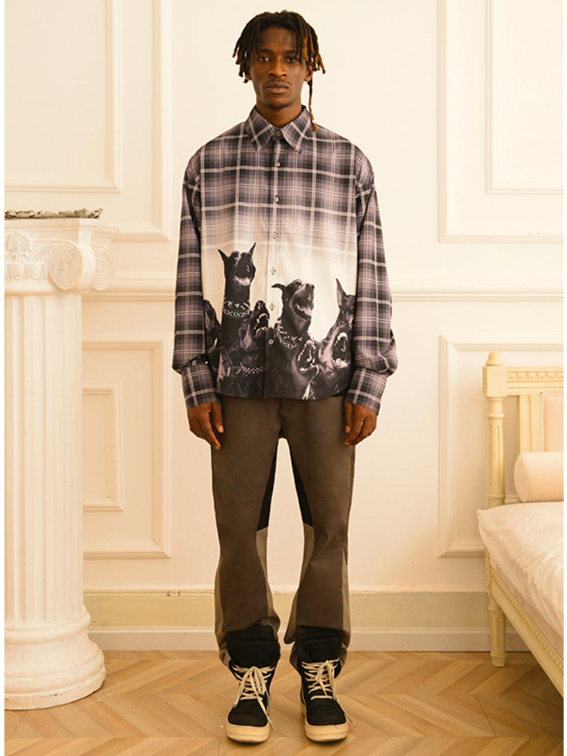 Roaring Dobermann Print Plaid Shirt