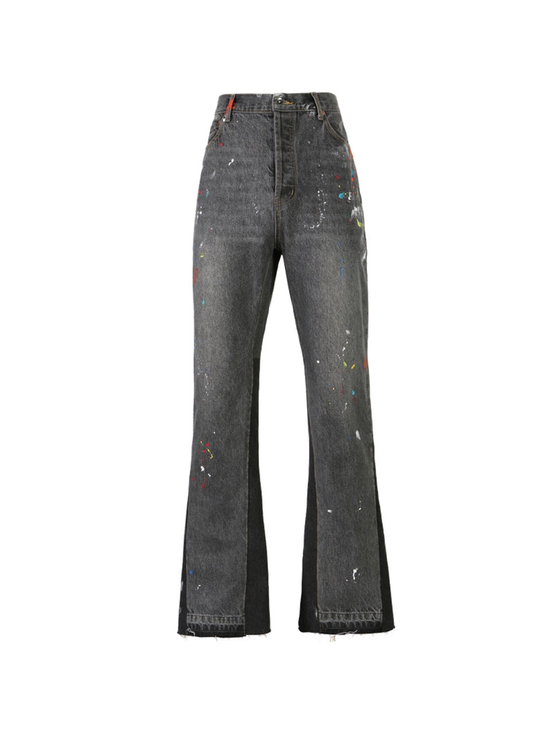 Hand-painted splash-based flare black Denim Pants