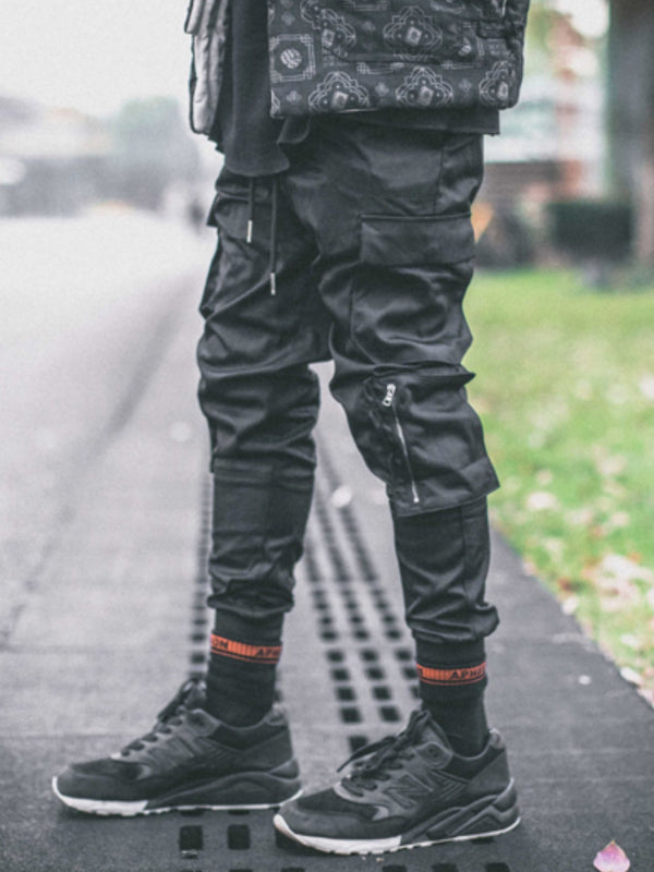 ZIPPER MULTI POCKET PANTS BLACK