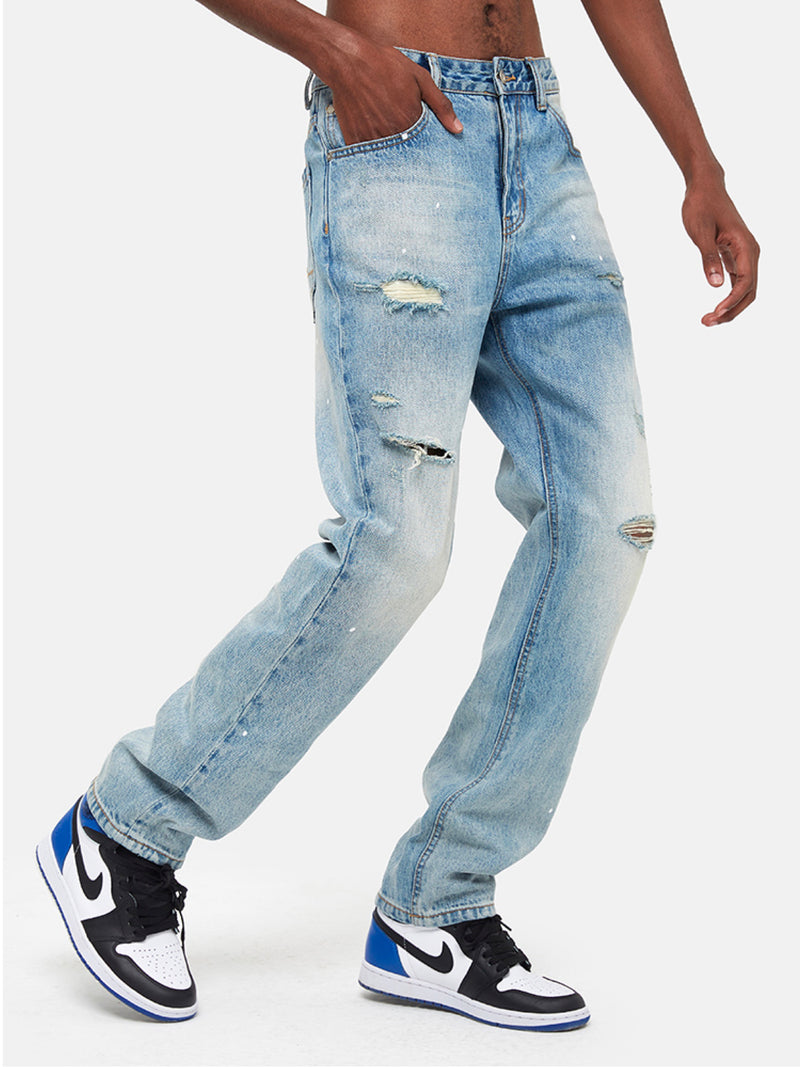 Blue straight Leg Distressed Jeans