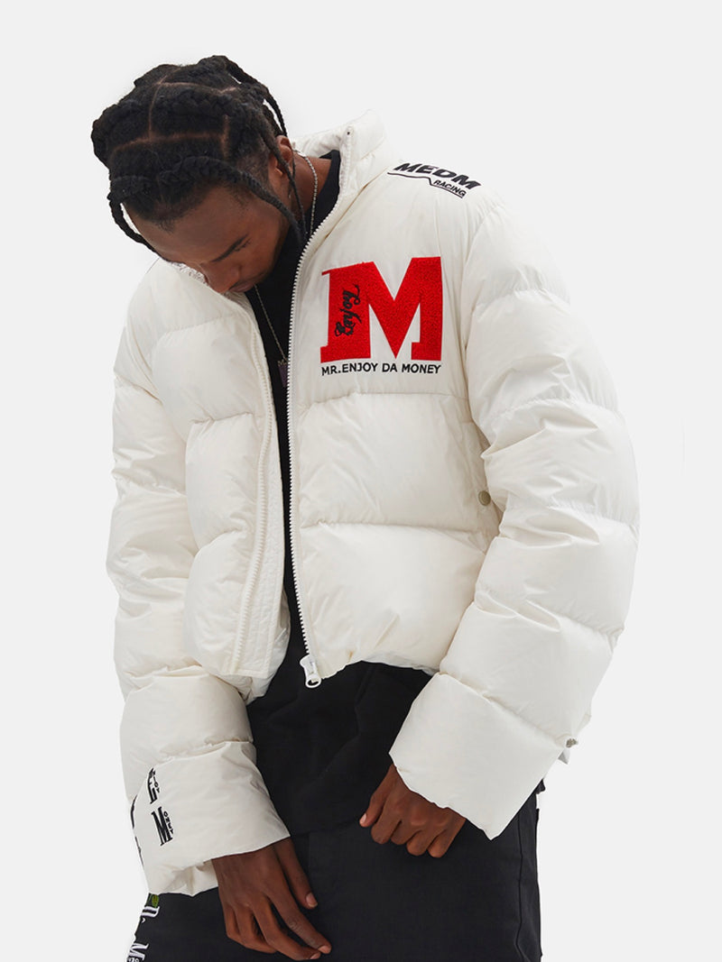 Short Three-dimensional Embroidered Down Jacket