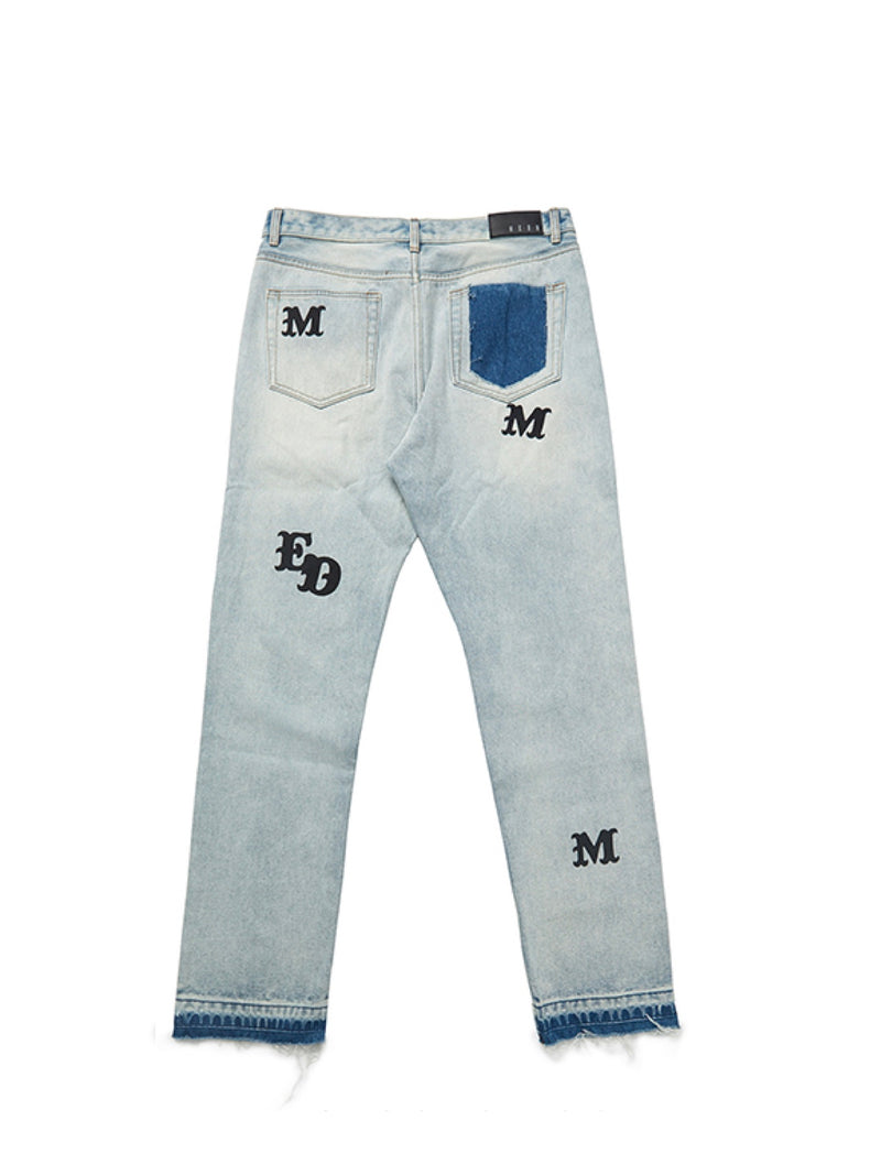 Blue Washed Straight-leg frayed Jeans