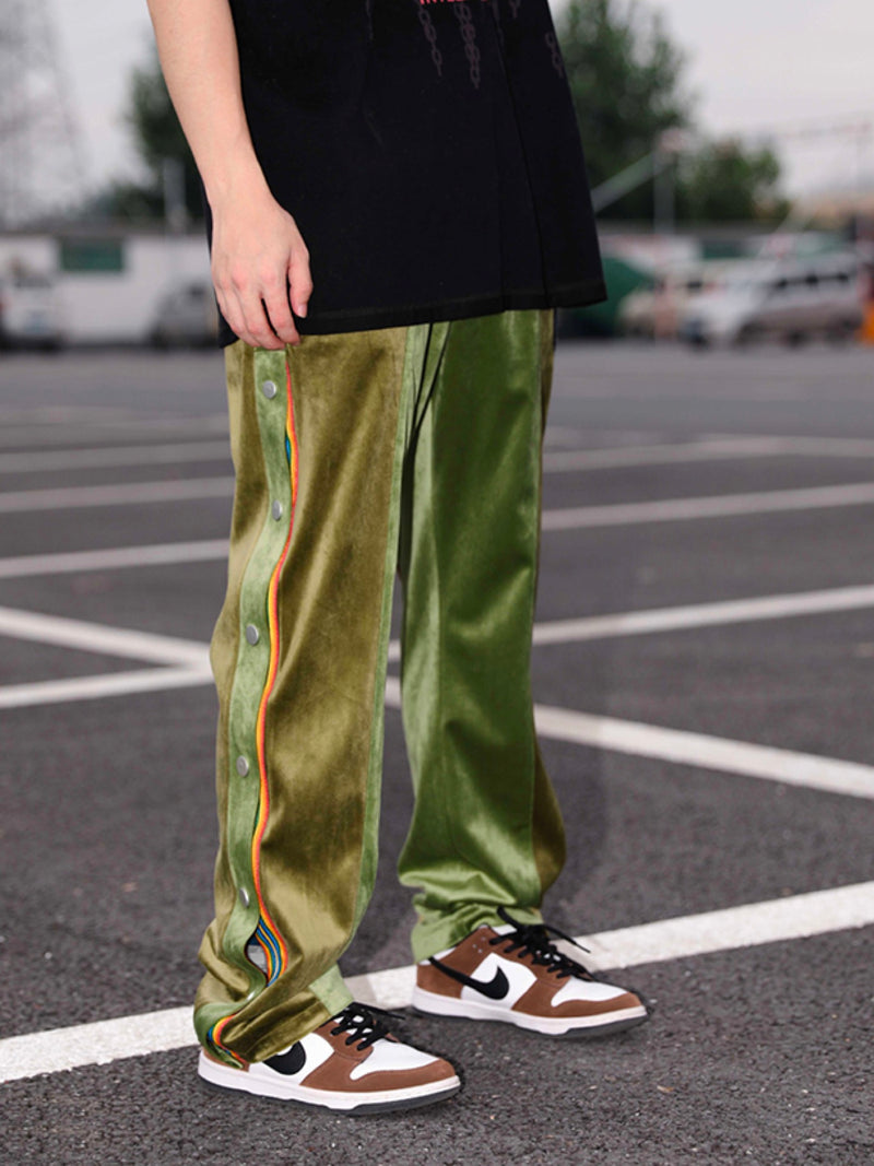 Embroidery rainbow side-breasted velvet Pants